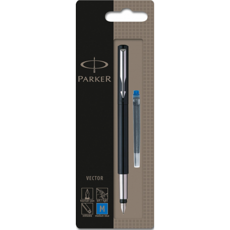 Parker Vector Fountain Pen Black Medium Ink Nib S0881041