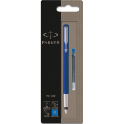 Parker Vector Stainless Steel Fountain Ink Pen Blue (Blister Pack)