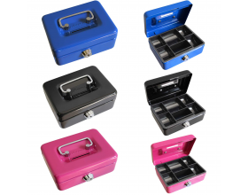 4inch Small Key Lock Petty Cash Piggy Bank Money Box Pot Safe Coin Slot Pink