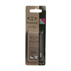 Parker Quink Black Washable Ink Long Cartridges, S0881440 Pack of 15