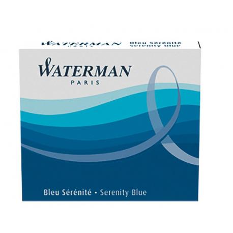 Waterman Short Size Ink Cartridges Serenity Blue - Pack of 6