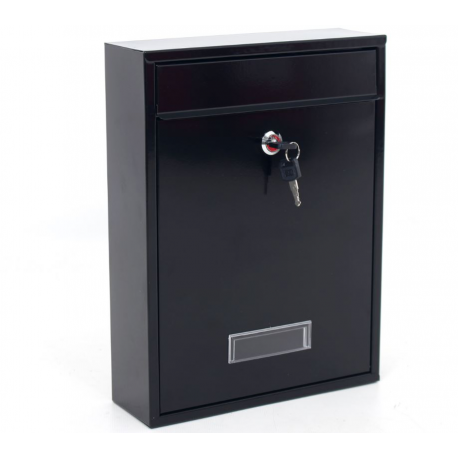Outdoor Black Mailbox, Metal Postbox for Houses - Wall Mounted
