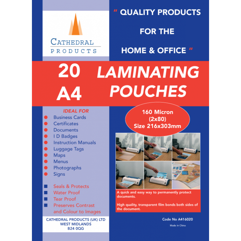 A4 Or A3 150 160 250 Micron Laminating Pouches In 20