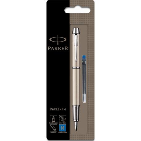 Parker IM Brushed Metal Fountain Pen CT Medium Nib S0878521