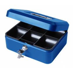 "8"" Petty Cash Box, Locking Money Box Tin - Blue"