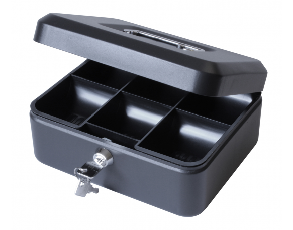 "8"" Money Box with Lock, Petty Cash Tin - Black"