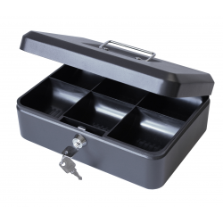 "10"" Metal Petty Cash Box Tin, Key Lockable - Black"