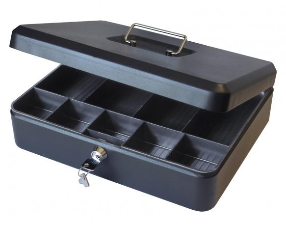 "12"" Large Petty Cash Box Tin with Key Lock - Black"