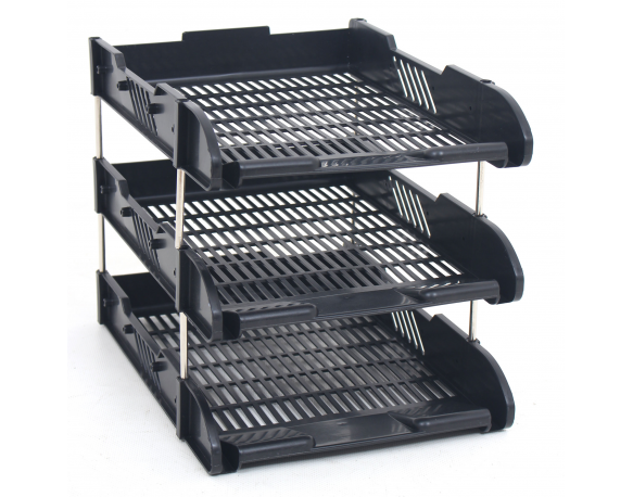 Office Filing Trays A4 Document Desk Riser Letter Paper Storage Organiser 3 Tier