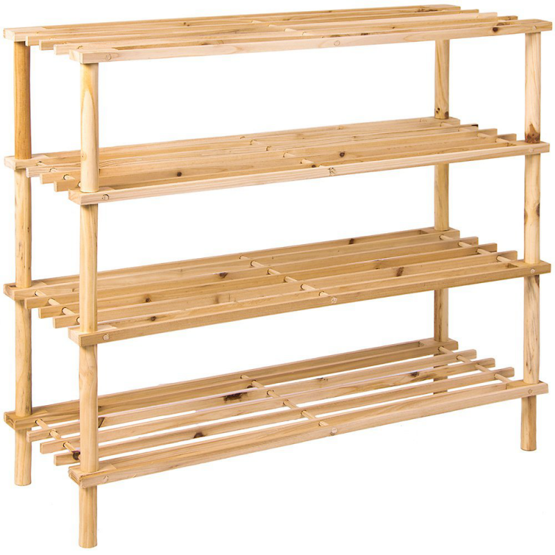 4 tier wooden shoe rack vertical storage shelf unit - Vertical Shoe Rack