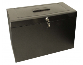 Cathedral Foolscap Metal File Box, Black HOBK