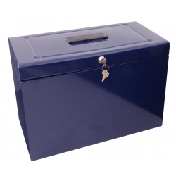 Cathedral Foolscap Metal File & Document Storage Box, Blue HOBL