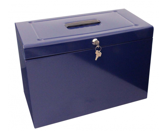 Cathedral Foolscap Metal File & Document Storage Box, Blue