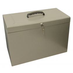 Cathedral Foolscap Metal File Box with Lock, Silver HOSL
