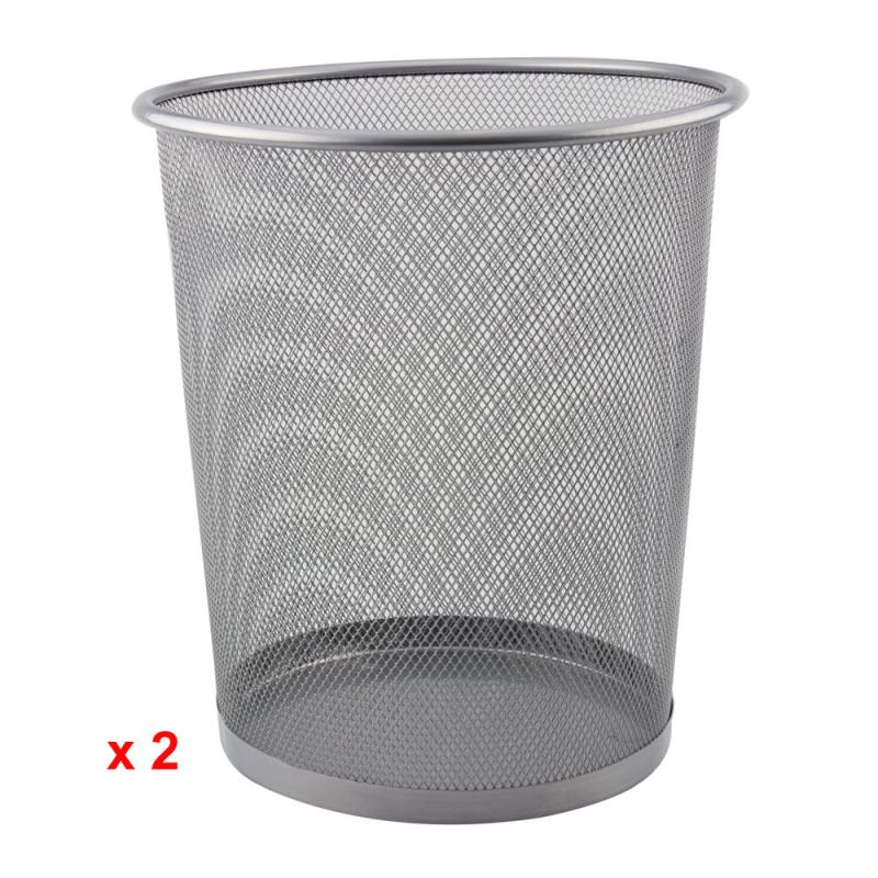 Merveilleux Metal Mesh Waste Paper Bin Rubbish Wire Basket Black For Office, Bedrooms  (Pack Of