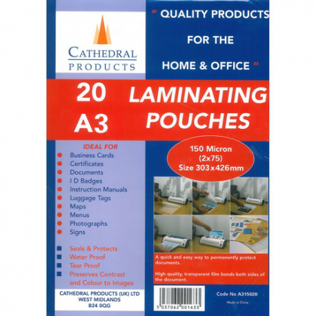Cathedral A3 Laminating Pouch Plastic Sleeves 20 Sheets, Film 150 micron