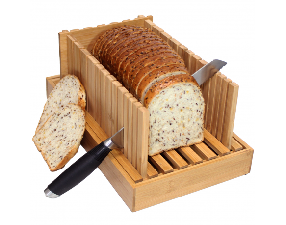 Bamboo Bread Slicer Wooden Cutting Board with Adjustable Slicing Guide Foldable